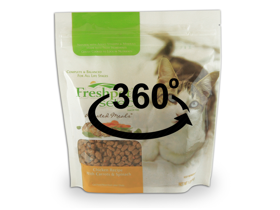 Pet Food Stand Up Zipper Pouch 360 View